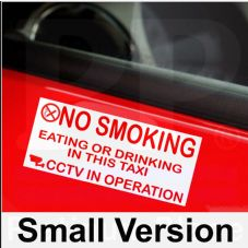 2 x Taxi Minicab EXTERNAL-Red On White Stickers-Small Version-No Smoking,Eating,Drinking,CCTV In Operation Warning Hackney Mini Cab Sign for Tinted Window